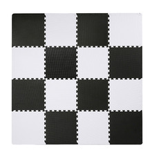 Meitoku Baby EVA Foam Play Puzzle Mat,Black and White Interlocking floor carpet and Rug, 16Tiles pad for kis.  Free edge.