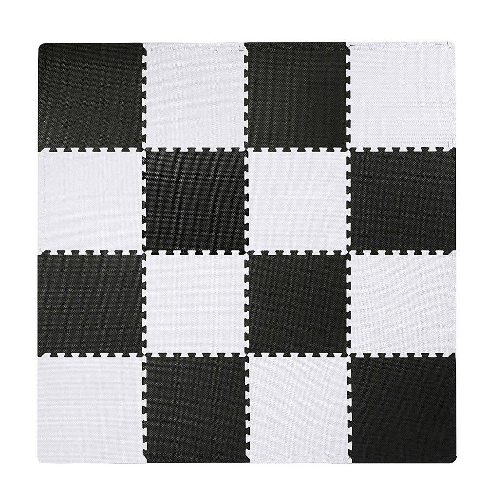 Tapis de Puzzle Meitoku Baby EVA en mousse, tapis de sol noir blanc à emboîtement, tapis de 25 carreaux pour enfants. Chaque bord libre de 32x32 cm.