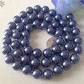2015 8mm Azul Del Mar Del Sur Shell Collar de Perlas Cadena de la Cuerda de La Joyería de La Perla Perla de Los Granos de Piedra Natural 18 pulgadas (mínimo Order1)