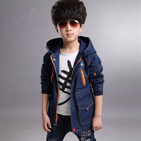 Autumn 2016 New Boys Denim Jacket Spring And Autumn Baby Clothes And Long Sections Coat Big