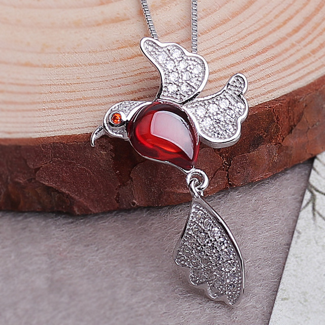 Brand new 925 sterling silver garnet lucky bird pendant necklace brand new 925 sterling silver garnet lucky bird pendant necklace with box chain sterling silver jewelry aloadofball Images