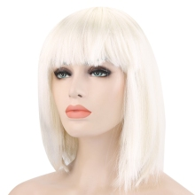2016 Top Quality 30CM Straight Hair Wigs Bob Full Bangs Short Straight Off-white Wigs for Street Shooting Cosplay Masquerade