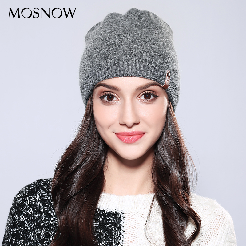 MOSNOW Women Ladies   Beanie   Casual Wool 2018 Brand New Autumn Winter High Quality Solid Knitted Women's Hat Female Caps #MZ748