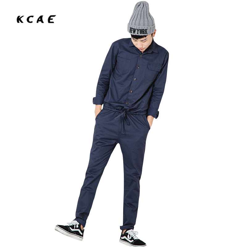 Mens Jumpsuit Fashion Long Sleeved Overalls Male Elegant Cool Overalls Slim Fit Pants Hip-Hop Trousers Blue and khaki Jumpsuit