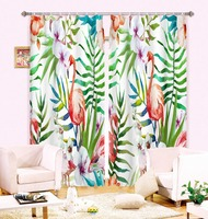 MYRU Anticorrosive Metal Grommet Flamingo Printed Blackout Curtains Bedroom And Living Room 3D Curtains