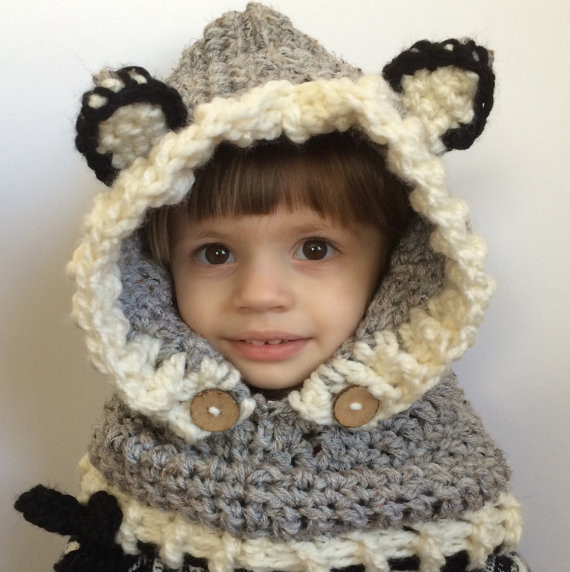 Childrens Wolf Hooded Scarfadult Hooded Cowlbaby Boys Gray Hooded