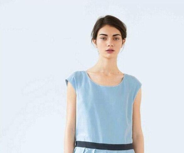 Wholesale 70 20 Tencel Linen Sky Blue 100 Linen Fabrics Dress Coat Polyester Leather Fabric Width