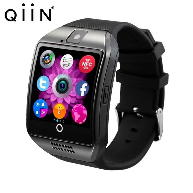 Free shipping Q18 Smart watch with Touch Screen camera TF card Bluetooth smartwatch for Android IOS Phone gv08 1 5 screen ogs touch screen bluetooth v3 0 smart watch phone w camera sim tf card slot