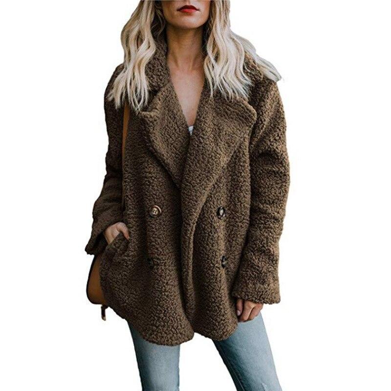 Women winter jacket 2019 fashion new double breasted sweaters lapel loose fur jacket women outwear women Women winter jacket 2019 fashion new double-breasted sweaters lapel loose fur jacket women outwear women coat ladies jacket