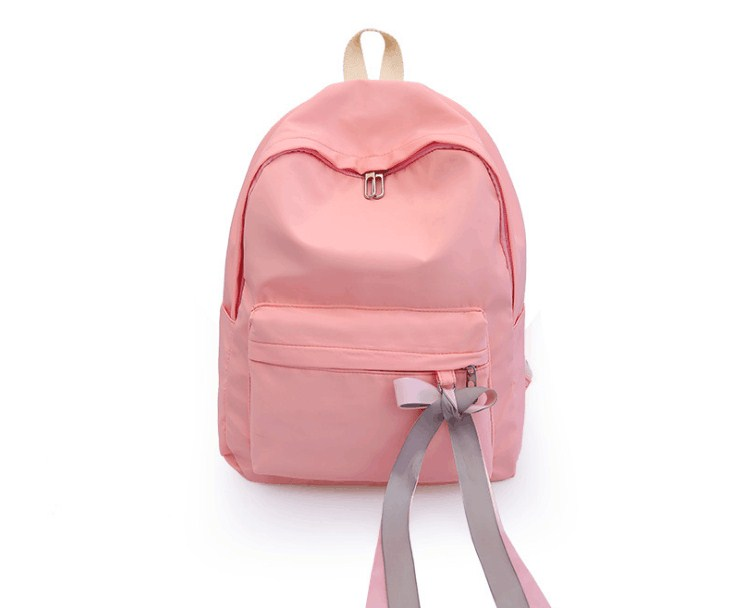 2019 solid canvas women ribbon leisure backpack large students bag