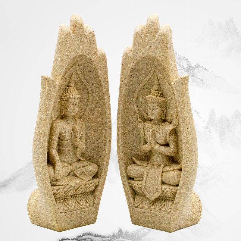 Palm 2Pcs Small Buddha Statue Monk Figurine Tathagata India Yoga Mandala Hands Sculptures Home Decoration Accessories Ornaments