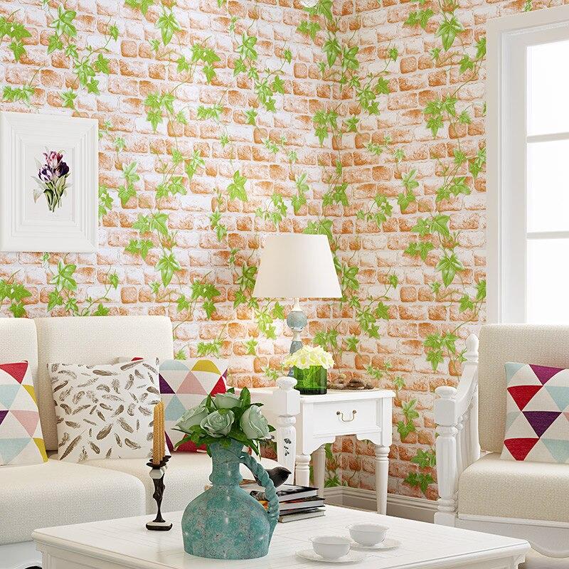 Купить с кэшбэком Vintage Green Leaves Wallpaper Bedroom Living Room TV Sofa Background Imitation Tree Wallpaper Rroll