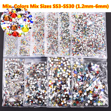 1440pcs Mix Colors Glitter Rhinestone Glass Non Hot fix Rhinestones SS3~SS30 FlatBack HotFix Crystal for Nail Art Decoration