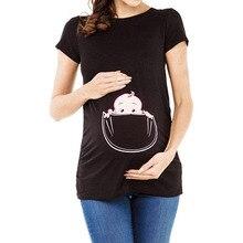 Женская Футболка для беременных с карманом и принтом; футболка; Одежда для беременных; женская одежда; Одежда для беременных; vestidos