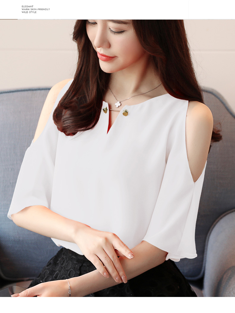2469e07237369 2018 New Summer Fashion Short Sleeved Blouses Chiffon Shirts Solid ...