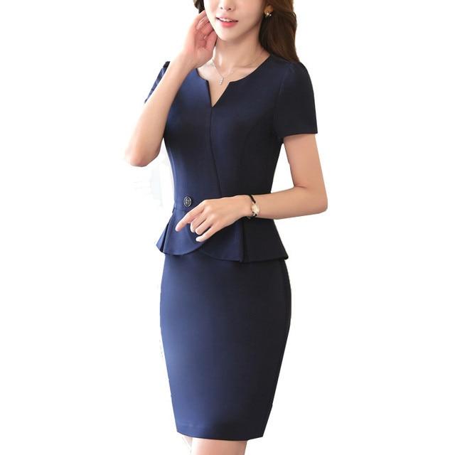 5c63ce57e141 Vintage Work Ruffled Women Dress One-Piece Dress OL V-Neck Solid Short  Sleeve Slim Office Ladies Dresses Plus Size Uniform S To