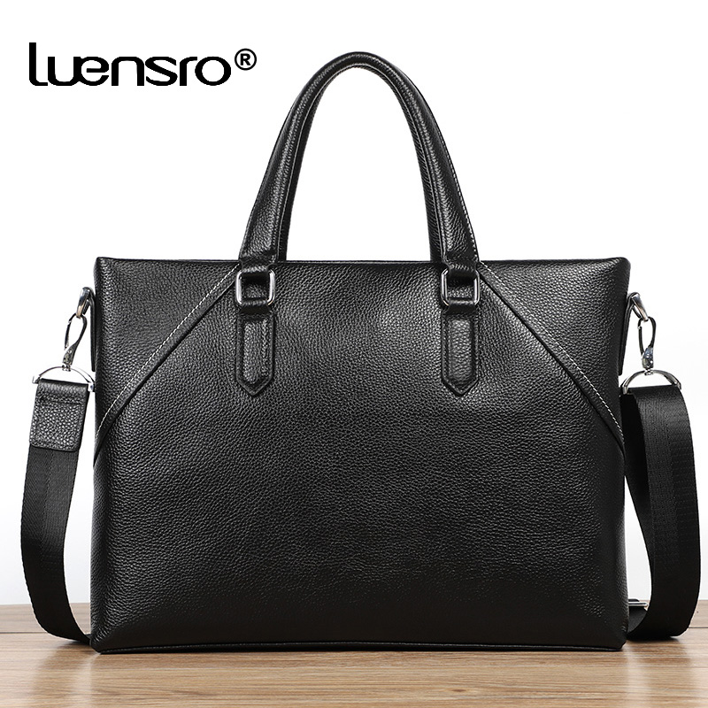 100% Genuine Leather Men Bag Briefcase Handbag Casual Male Laptop Shoulder Bag Cross Body Bussiness Men Briefcase Leather Totes