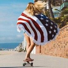 Bandera americana Borlas Playa Tiro Toalla Estera Redonda Mandala Tapiz Manta Toalla de Playa Verano Bufandas para Las Mujeres Seabeach