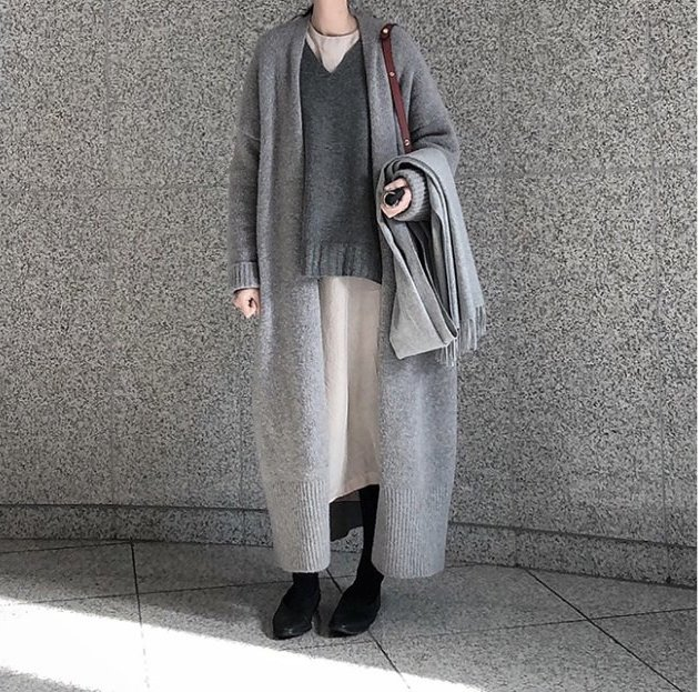 Women Winter Long Knitted Cardigans Sweater Coat Open Stitch O-neck Elegant Vintage Loose Plus Size