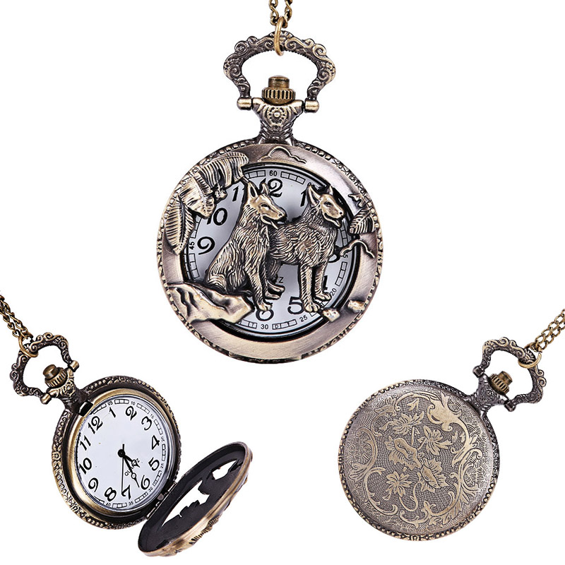 Fashion Hollow Antique Dog Zodiac Pocket Watch Fob with Chain Necklace Jewelry Gifts for Women Men LXH chinese zodiac bronze pig quartz pocket watch necklace pendant carving back for women men gifts lxh