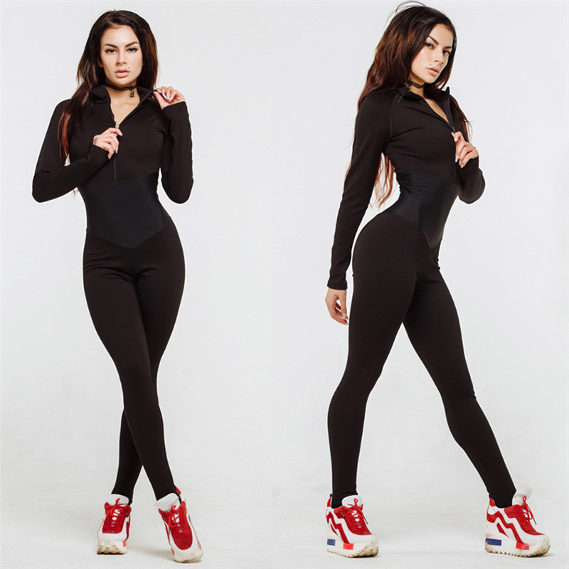 2019 One-Piece Yoga Set Women Sexy Stitching Zipper Jumpsuits Waist Yoga Pants Fitness Leggings Workout Sports Running Leggings
