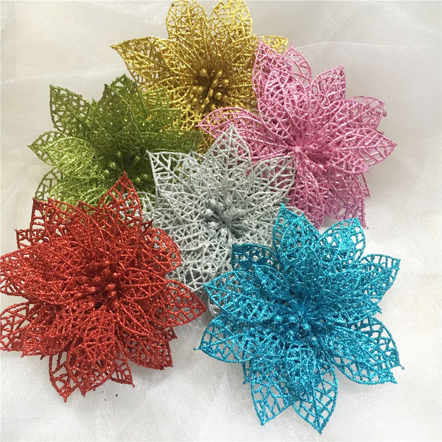 10Pcs Christmas Tree Decorations Glitter Hollow Artificial Flowers New Year Christmas Decorations for Home Navidad Natal Kerst.B