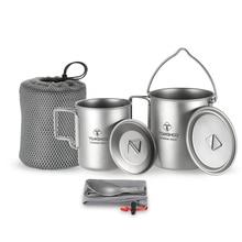 TOMSHOO 3Pcs Titanium Pot Water Mug Cup Set Lightweight Mug Outdoor Camping Pot Picnic Hang Pot Cooking Pots with Folding Spork цена
