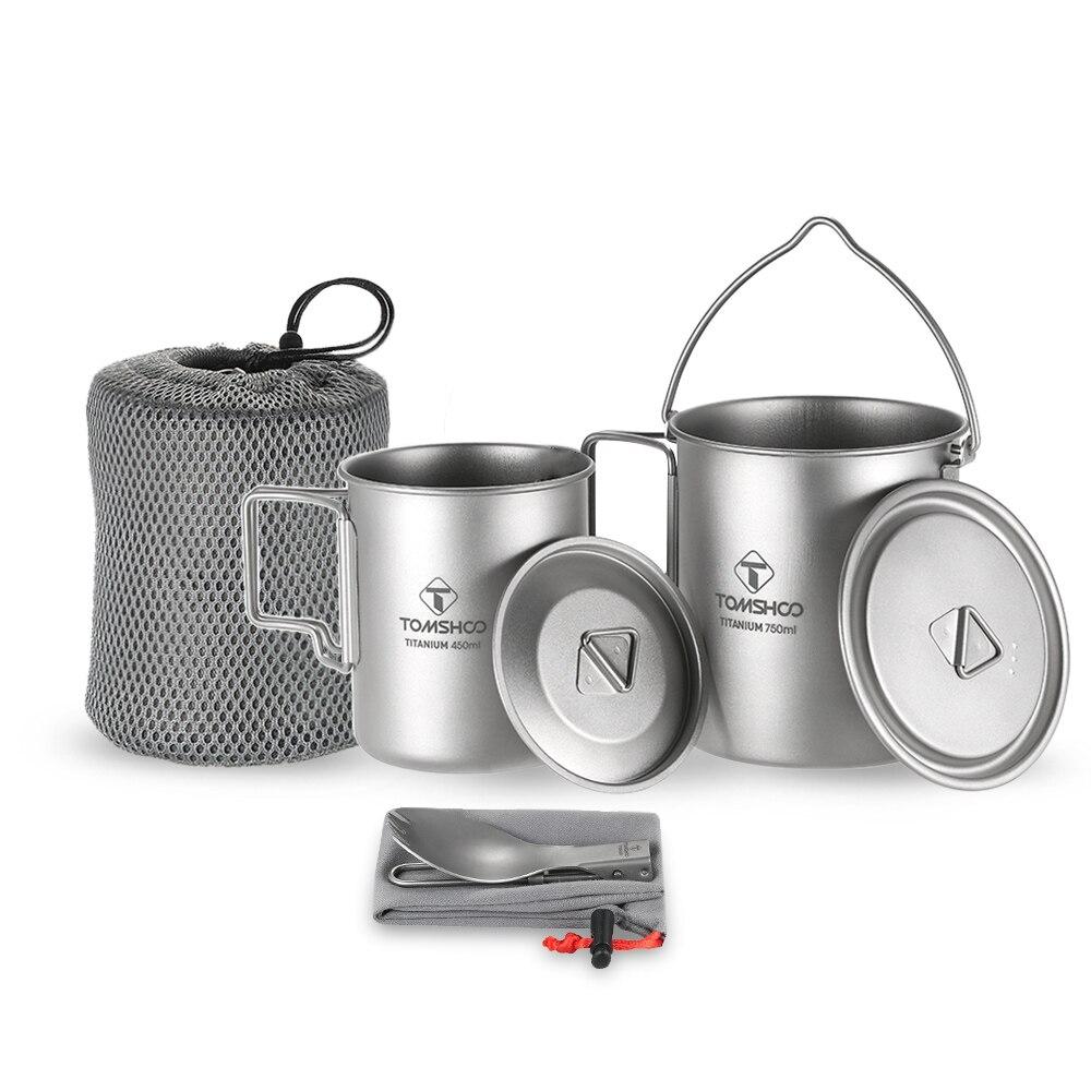 TOMSHOO 3Pcs Titanium Pot Water Mug Cup Set Lightweight Mug Outdoor Camping Pot Picnic Hang Pot Cooking Pots with Folding Spork