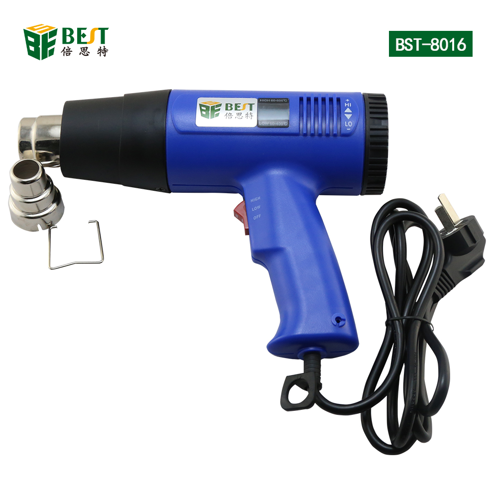 BST-8016 hot air heat gun 1600W 350 to 600 Degree Electronic Blower Temperature Adjustable Digital display 1 set ac 220v 1800w hot air heat gun paint stripper 60 600 degree temperature adjustable hot air paint drying striping blower