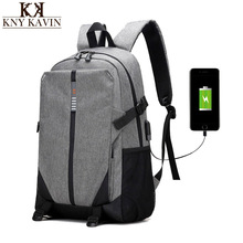 KNY KAVIN KK New Cotton Fabric Men's Travel Backpack Science Schoolbag Light texture Leisure Time Backpack With USB Interface