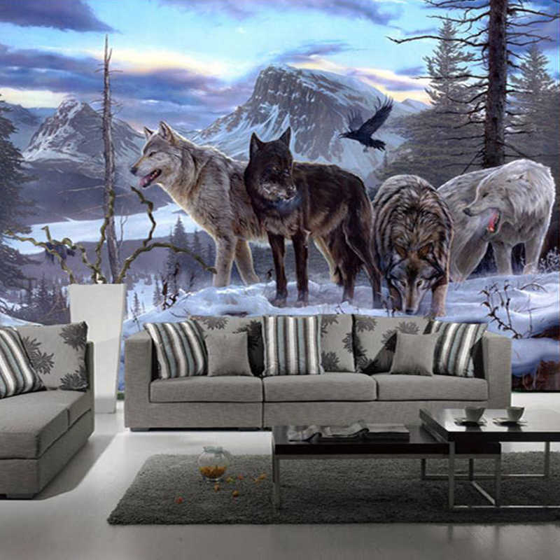 Custom 3d Mural 3D Mural Custom Wolf Totem Animal Wallpaper Sofa Living Room Background Wallpapers On The Wall