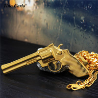 Tino Carlo Tough Guy Exército Colar de Presente Revolver Solild S. Steel 3D Pistola Grande Pingente de Hiphop do Homem Legal colar 70 CM JF1208