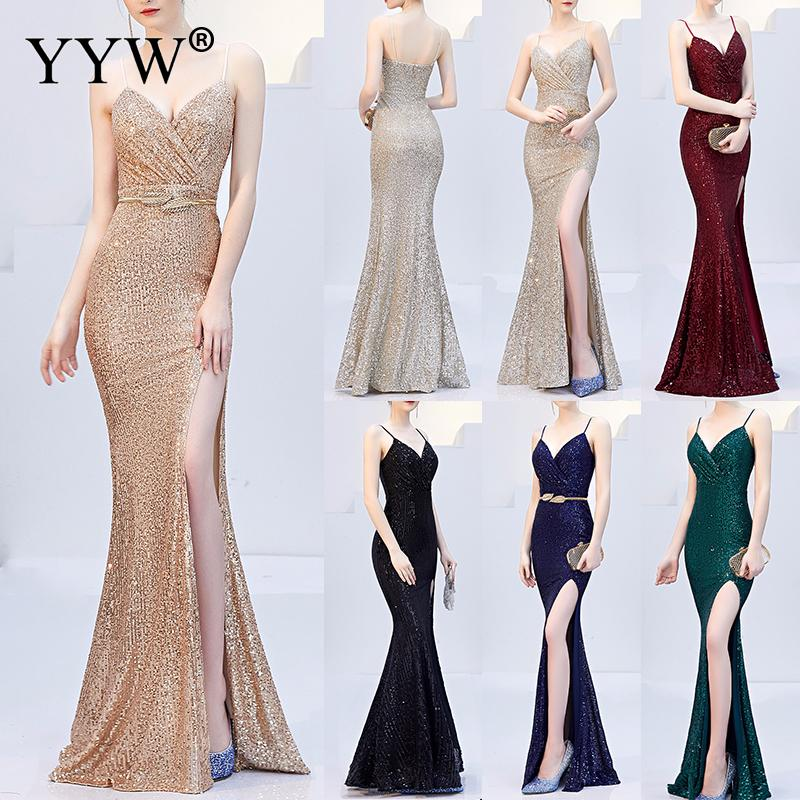 Sexy Sequined   Evening     Dress   Robe De Soiree 2019 V-Neck Sleeveless Backless Mermaid Long Robe Side Slit Off Shoulder Party   Dress