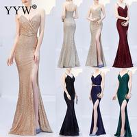 Sexy Sequined Evening Dress Robe De Soiree 2019 V Neck Sleeveless Backless Mermaid Long Robe Side Slit Off Shoulder Party Dress