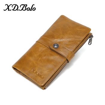 X.D.BOLO Womens Wallets Genuine Leather Long Wallet Hasp Phone Bag With Coin Pocket Card Holder Female Purse Wallet