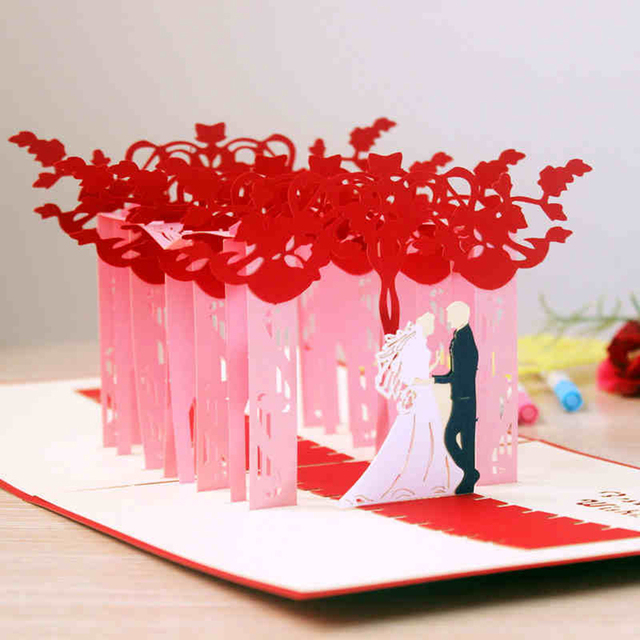 High Quality 3D Pop Up Handmade Greeting Cards Brides Red Carpet Creative Wedding Invitations Postcard Birthday Card