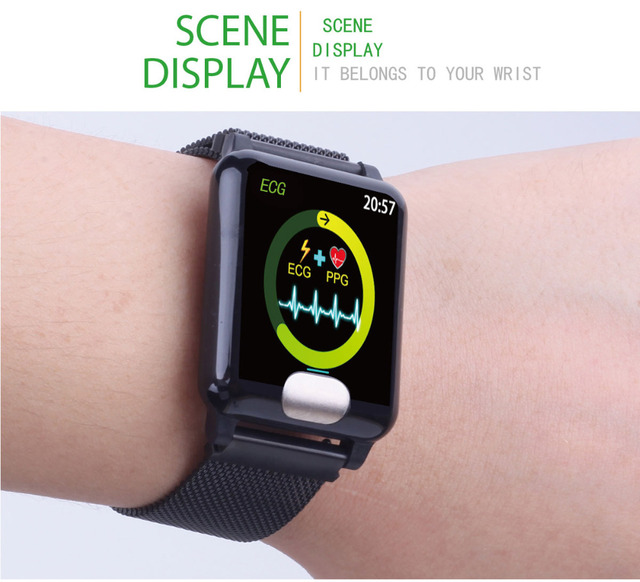 """Smart watch E04 heart rate blood pressure oxygen ECG monitoring 1.3"""" color waterproof smart watch for Android IOS iphone6 7 X m3"""