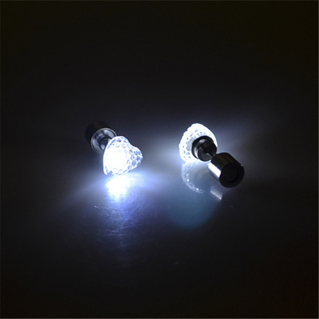 1 Pair Fashion Women Heart Shape LED Light Up CZ Club Studs Flashing Blinking Stainless Steel Earring  Party Dance