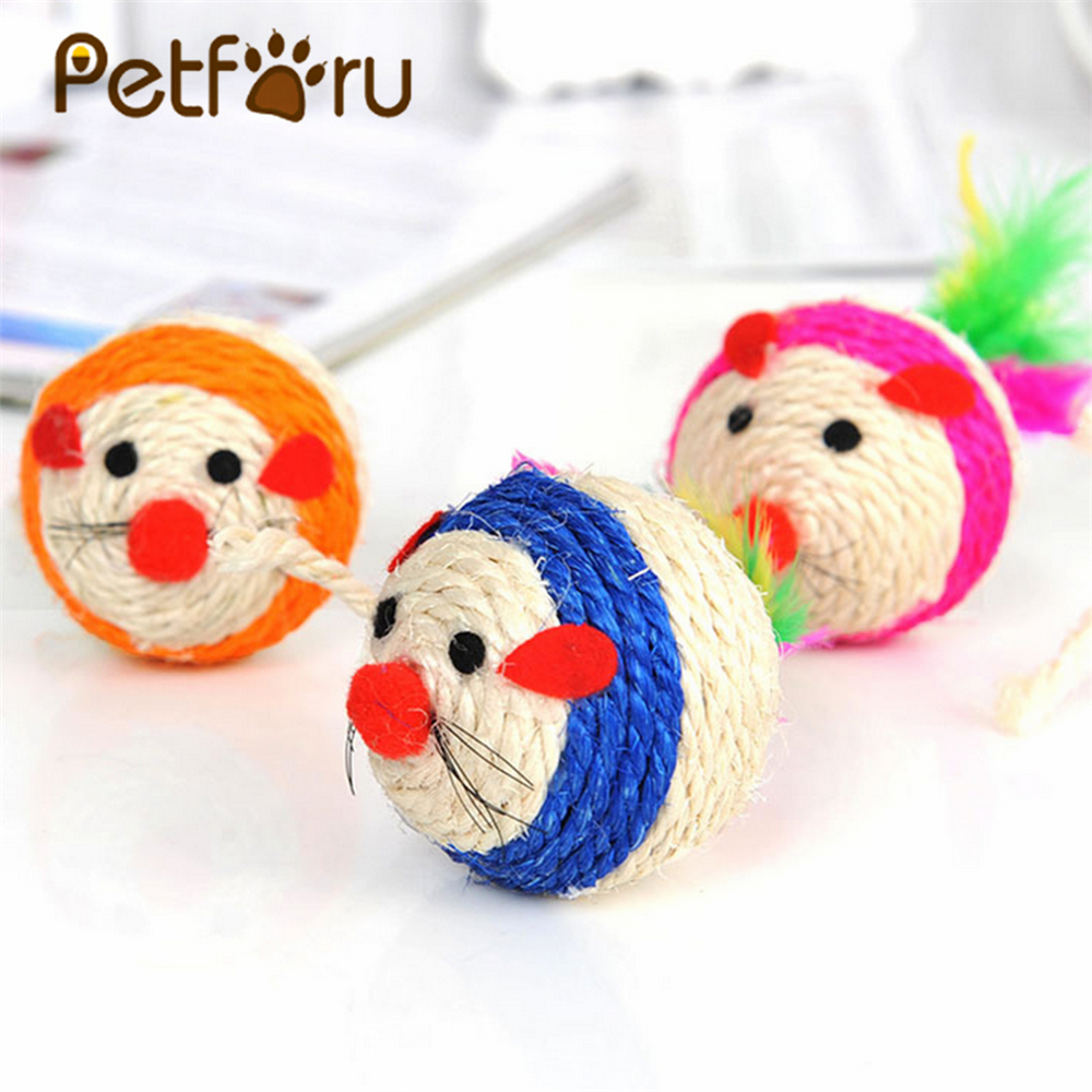 Petforu Pet Cat Toy Teaser Cute Rat Mouse Sisal Rope Weave Mouse Kitten Play Toy - Color Random