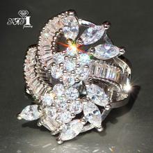 YaYI biżuteria moda księżniczka Cut 6 5 CT biały cyrkon srebrny kolor pierścionki zaręczynowe obrączki ślubne Party pierścionki tanie tanio Kobiety Geometryczne Miedzi yayi jewelry Zaręczyny Prong ustawianie HR546 20mm TRENDY Zespoły weselne Cyrkonia NONE Good Mood