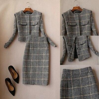 Femmes Mode Laine Ol Taille 1 Automne Costume Deux De Manteau Grande pièce Jupe printemps Veste Plaid Nouvelle qUtwA5Hzx