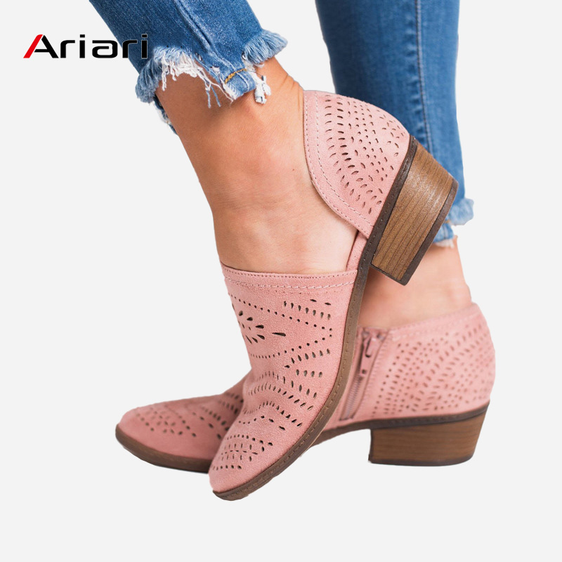 Woman Shoes Pumps-Side Square Low-Heel Slip-On Retro Hollow-Out Vintage Casual Boat Size-34-43