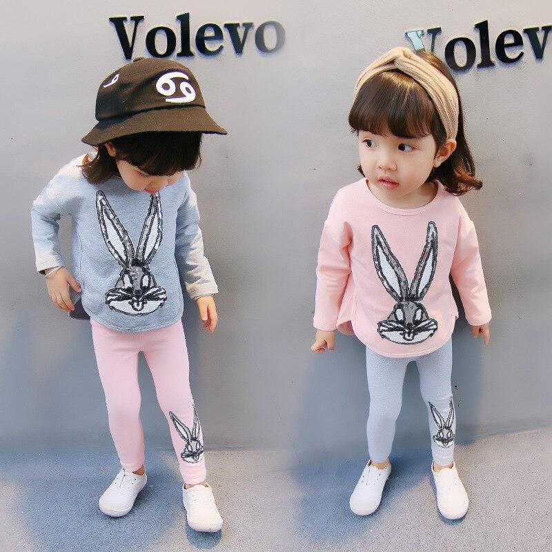 Baby Girl Clothes Set Lovely Style Kids Clothing Suit Cute Cartoon Sequins Rabbit T Shirt Leggings Pants Children Roupa Infantil