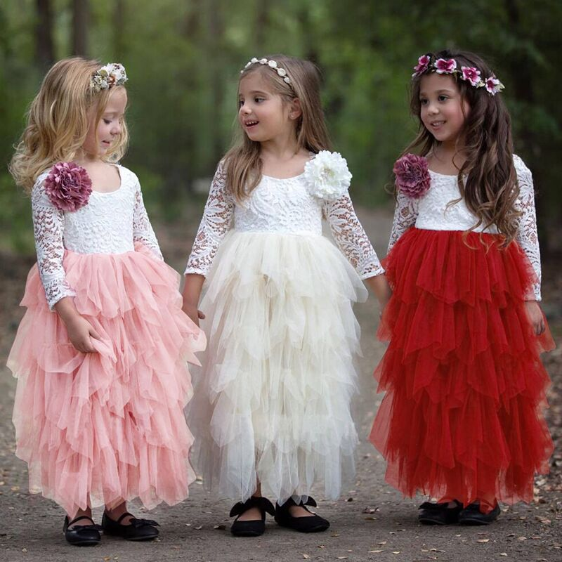Summer Lace Girl Dress 2019 White Backless Girls Teenage Princess Dress Irregular Tutu 2-8 Years Pink Children Dresses Pink 5