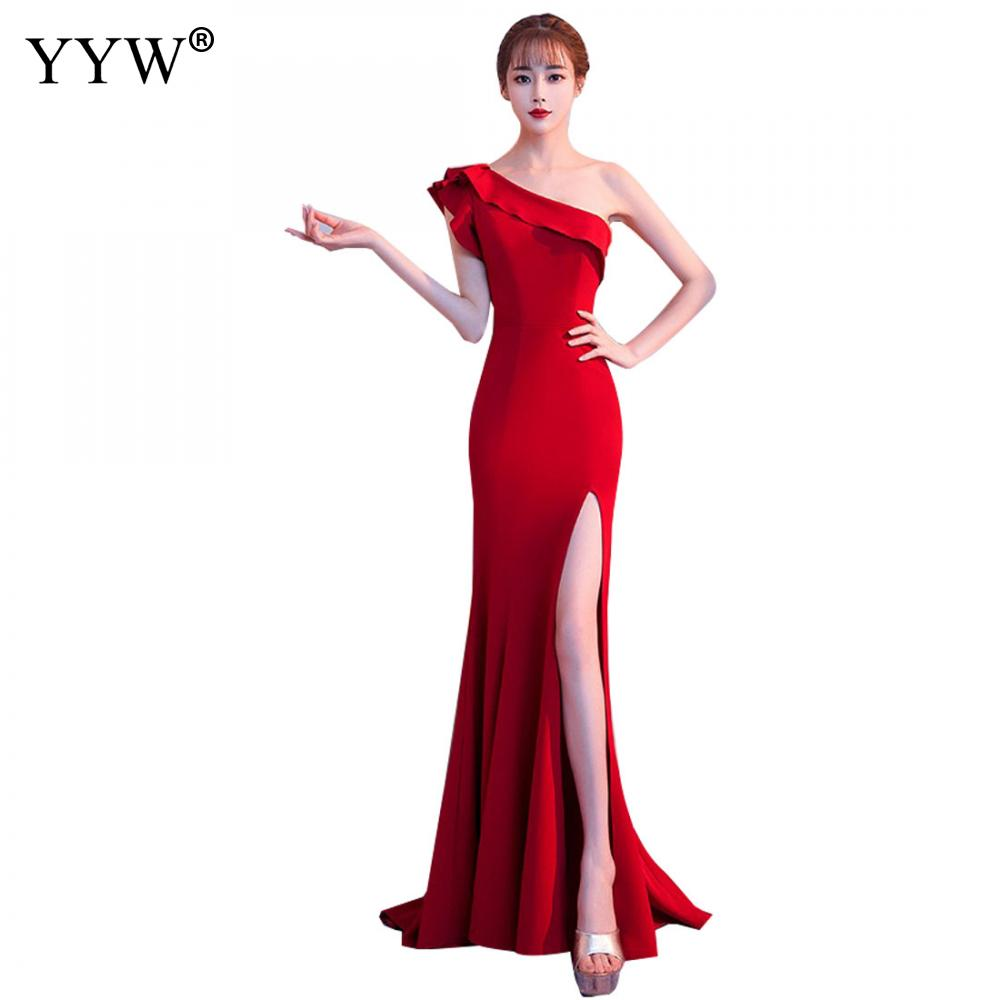 Womens Sexy One Shoulder Ruffle Red   Evening     Dress   Formal Prom Party   Dress   Side Slit Floor-Length Elegant Slim Club Mermaid   Dress