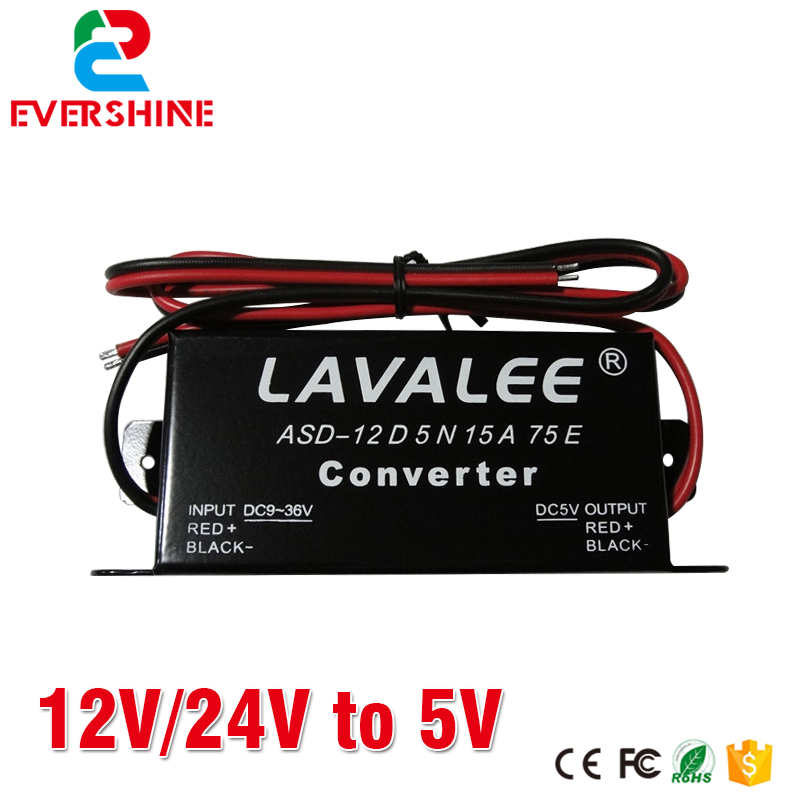 LAVALEE Converter 12V/<font><b>24V</b></font> to 5V15A Ultra thin <font><b>LED</b></font> Taxi <font><b>LED</b></font> Sign Power supply image