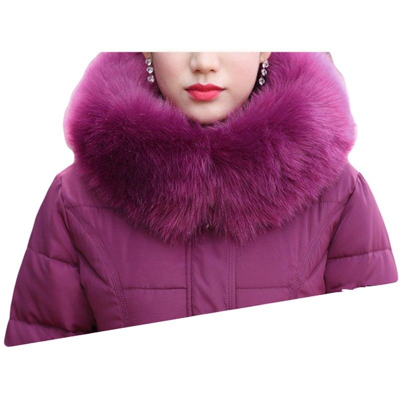 Luxe 4xl Mûr Taille Hiver rouge Veste Grande Vêtements pourpre 2017 Chaud Vintage Xh684 Noir De Femmes Outwear Grand Fourrure D'âge Parkas Élégant Col Mince bleu xww04