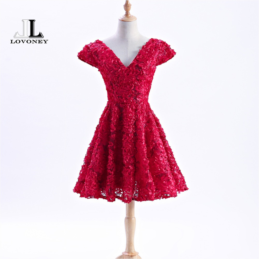 LOVONEY XYG812 Sexy V Neck Short   Prom     Dresses   2018 Cap Sleeves   Prom   Party Gown Women Occasion   Dress   Robe de Soiree