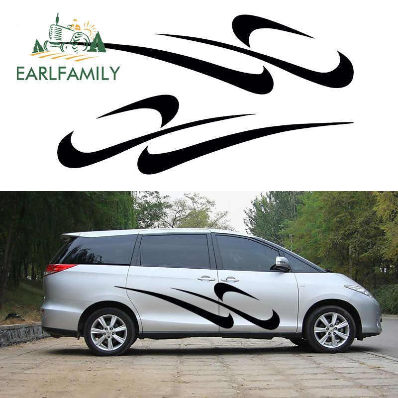 EARLFAMILY 2x 抽象アート陽気リズムストライプランニング車のステッカーハッピー生活トラックドアカヤックカヌービニールデカール 9 色