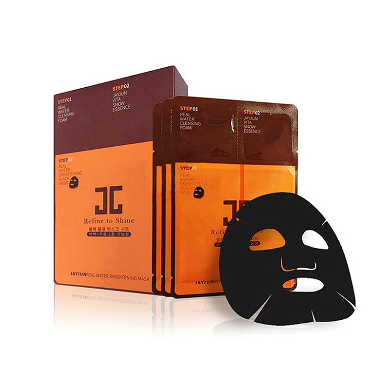 JAYJUN Real COSMETIC Water Brightening Black Mask Pack 3STEP Refine To Shine (10pcs)